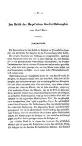"""Karl Marx: """"Zur Kritik der Hegel'schen Rechts-Philosophie"""" in Deutsch-Französische Jahrbücher 1844"""